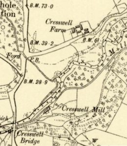 Old map of Cresswell Barn Farm