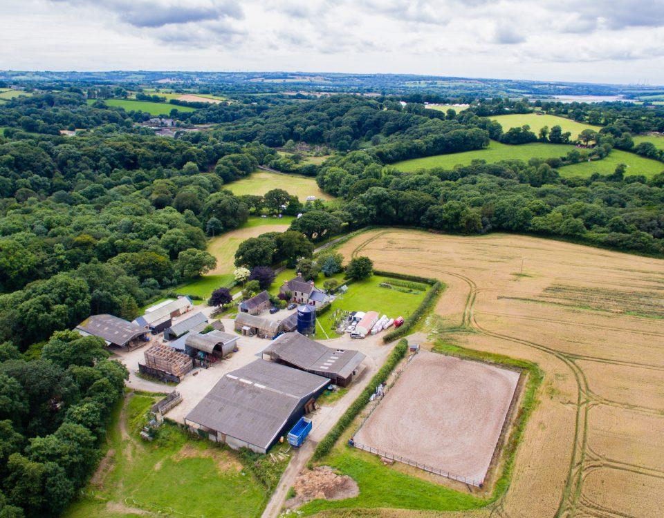 Arial photo of Cresswell Barn Farm