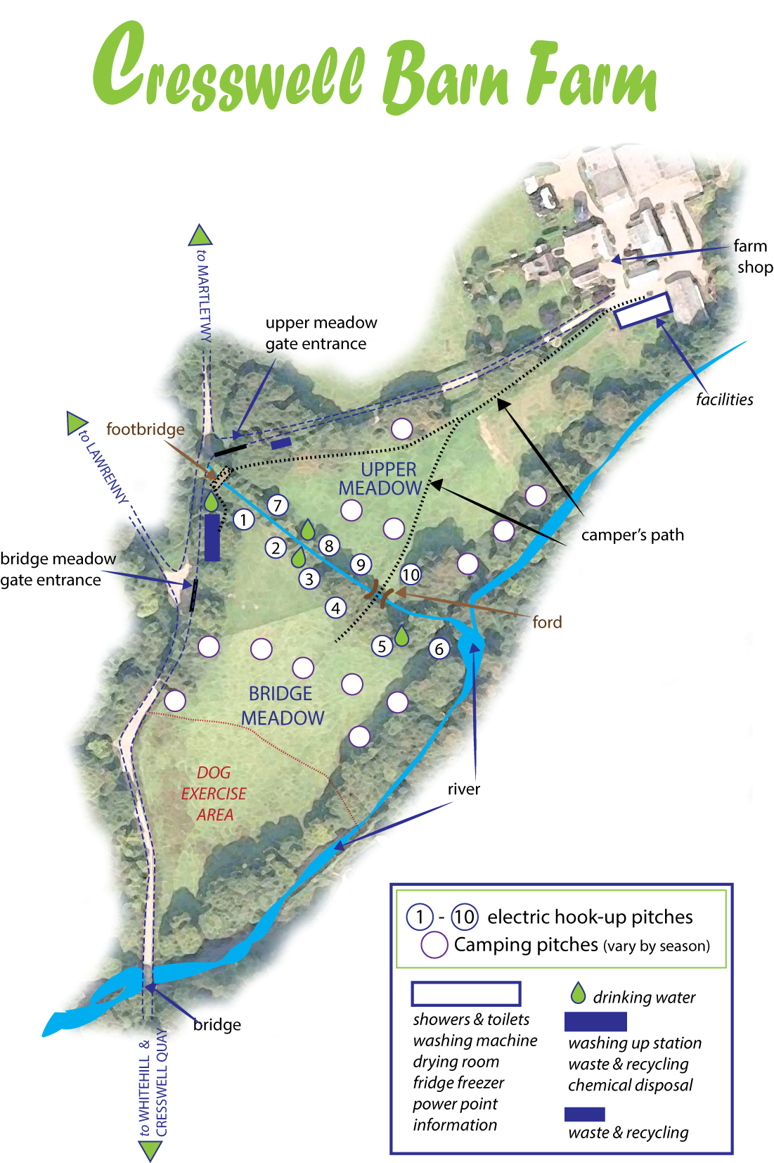 Crewell Barn Farm Campsite pitch and facility locations